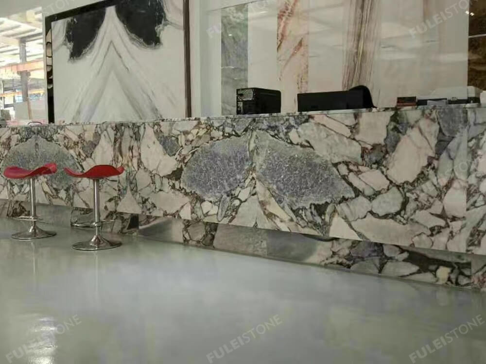 Cosmic Black Marble Reception Desk