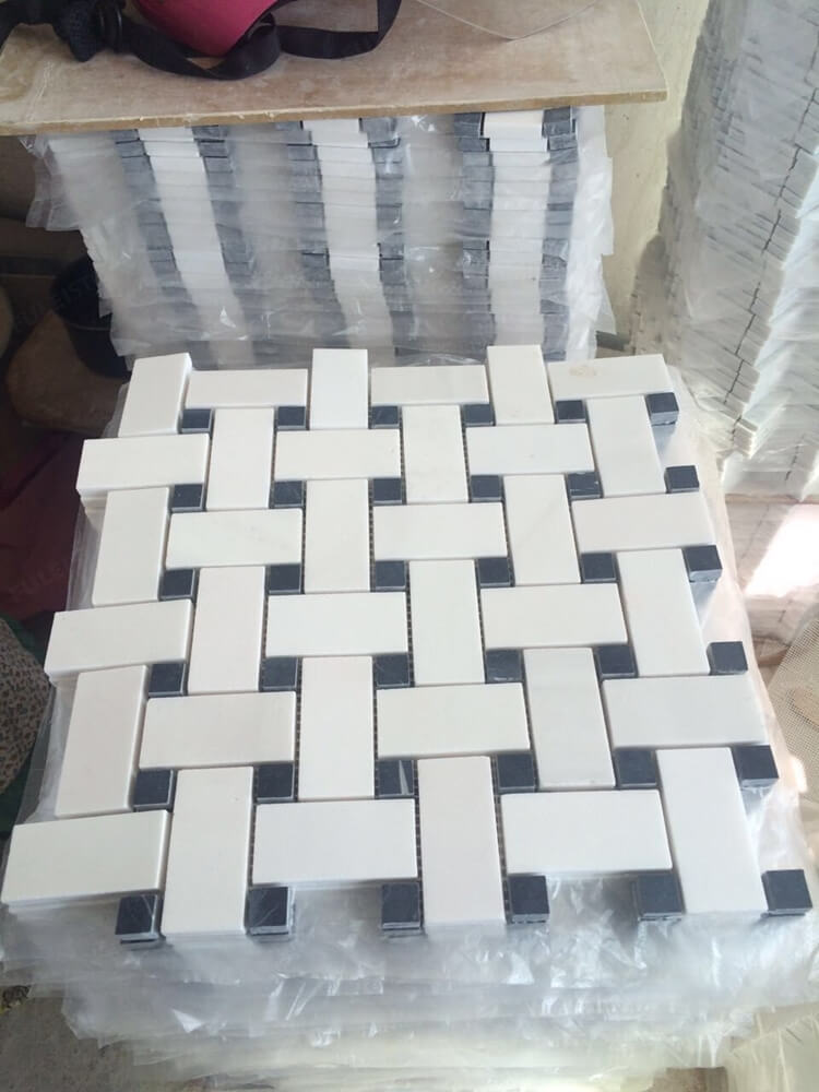 White Basketweave Mosaic Tiles