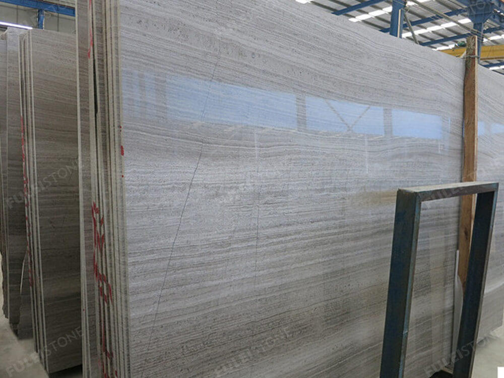 Wooden Grey Marble Slab Polished