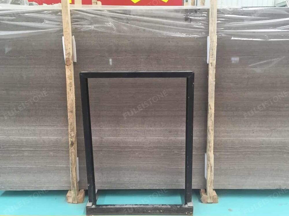 Wooden Grey Marble Slab