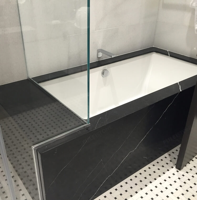 nero marquina marble bathtub cladding