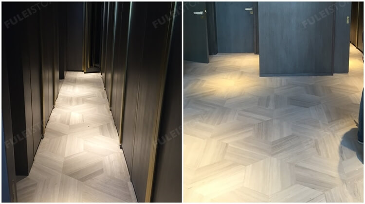 white wooden marble tile flooring