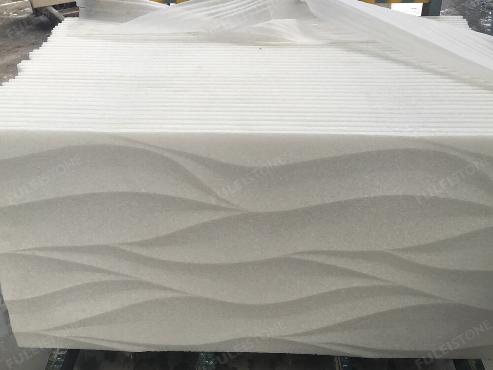 3D Carved Art White marble tile