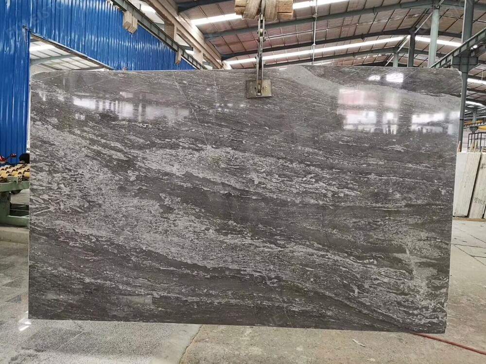 China 45 Degree Blue Grey Marble Slabs Polished