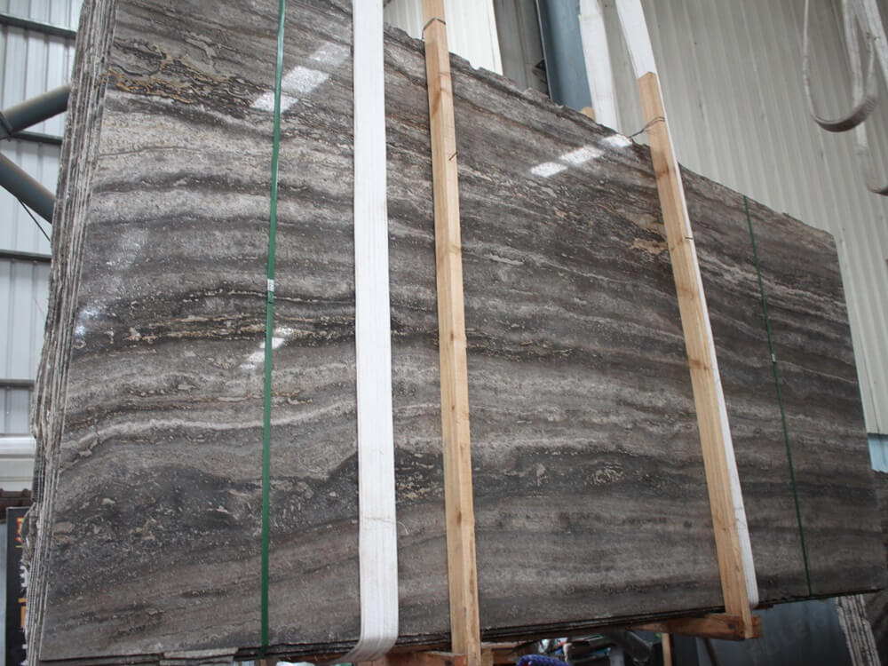 Dark Silver Travertine Slab