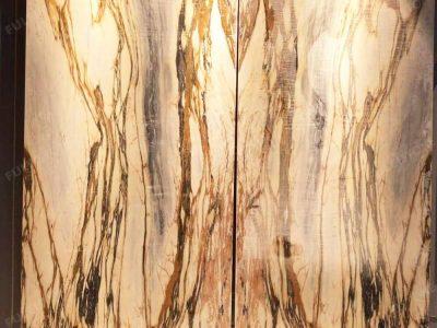 New Giallo Siena Marble Slab Backlit Background