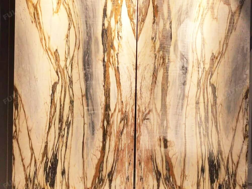 New Giallo Siena Marble Slab Backlit Background