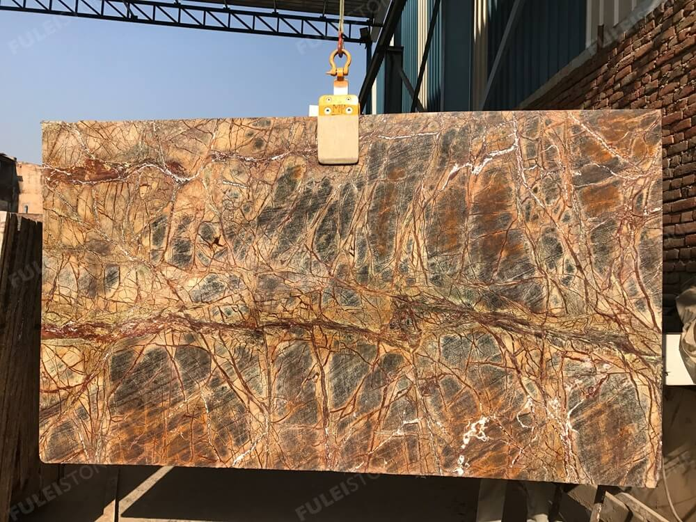 Rain Forest Brown Marble Slab India