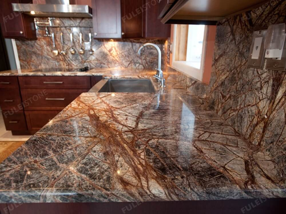 Rain Forest Brown Marble Slab Kitchen Countertop