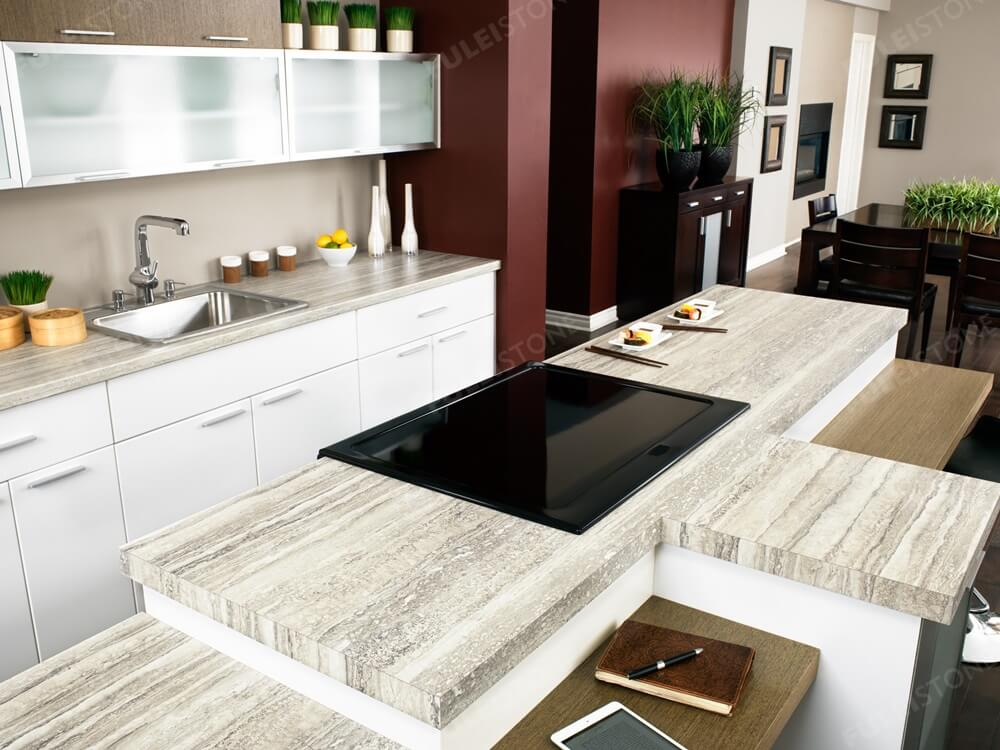 Roman Travertine Marble Kitchen Countertop