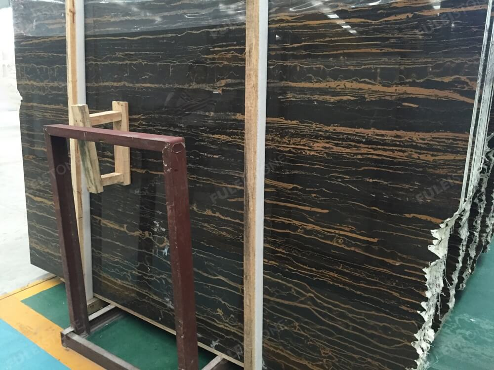 Rome Portoro Black Marble with Golden Veins