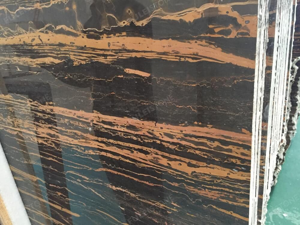 Rome Portoro Marble Slab High Polished