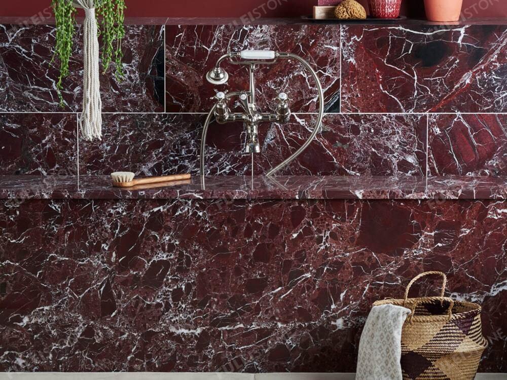 Rosso Levanto Marble Bathroom