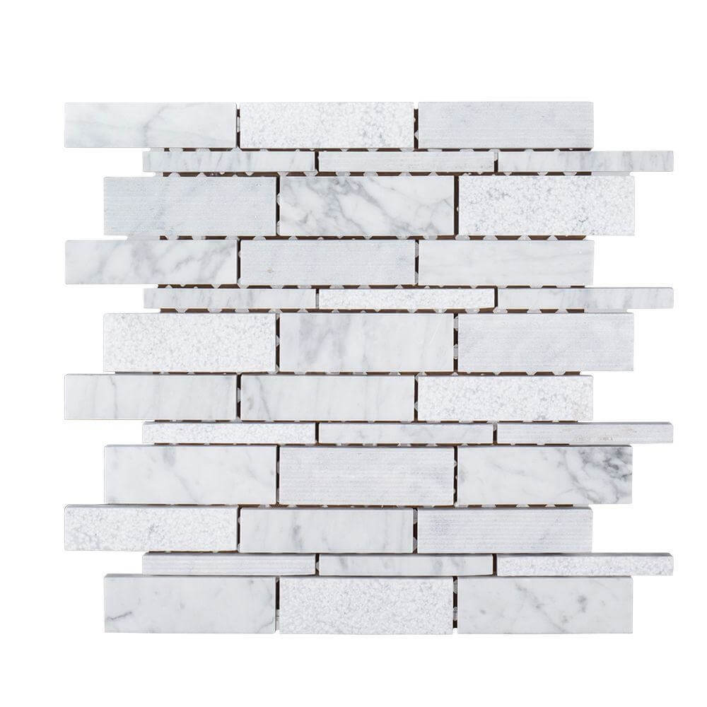 10-12 in. x 10-12 in. x 8 mm Marble Mosaic Tile
