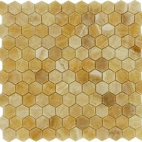 1x1 Honey Onyx Hexagon Polished Mosaic tile