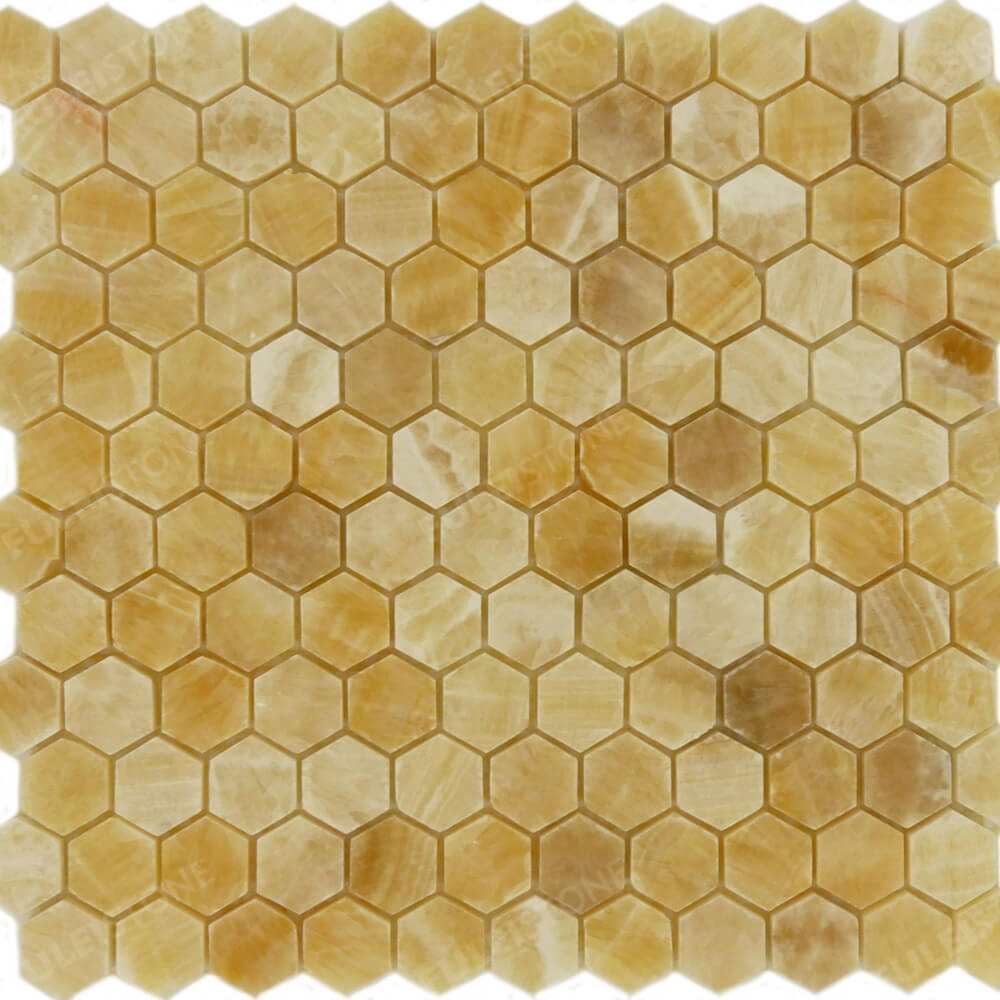 1x1 Honey Onyx Hexagon Polished Mosaic tile