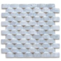 3d cambered carrara white marble brick arched mosaic tile