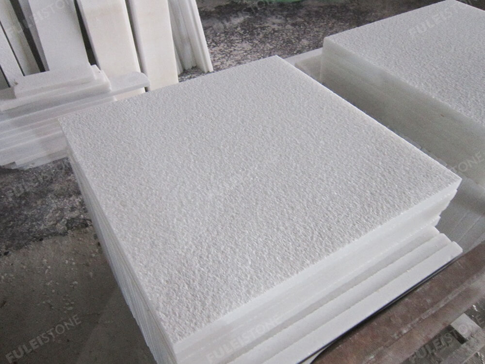Bush Hammered Crystal White Marble Tiles
