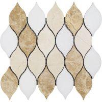 Candle Light Waterjet and carrara Mosaic tile