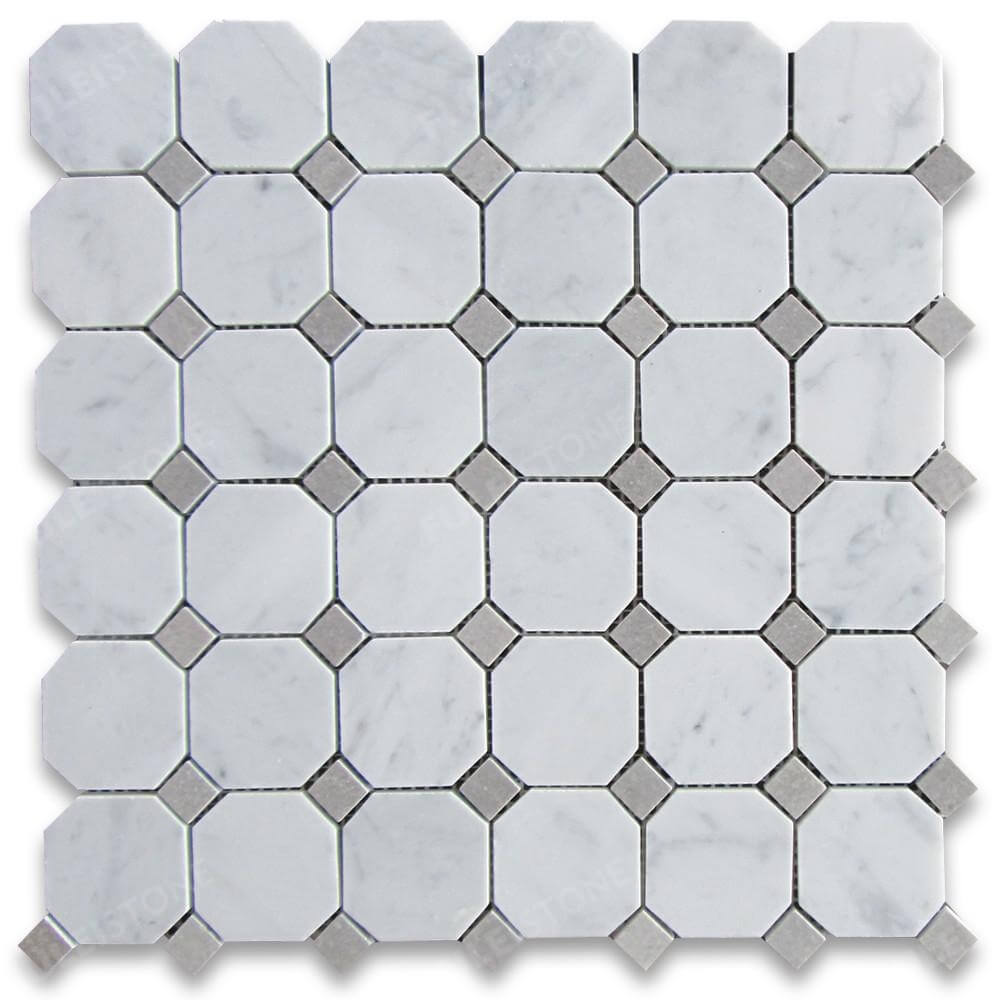 Carrara Marble Octagon With Gray Dots Mosaic Tile