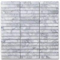 Carrara White Basketweave Mosaic Tiles 2