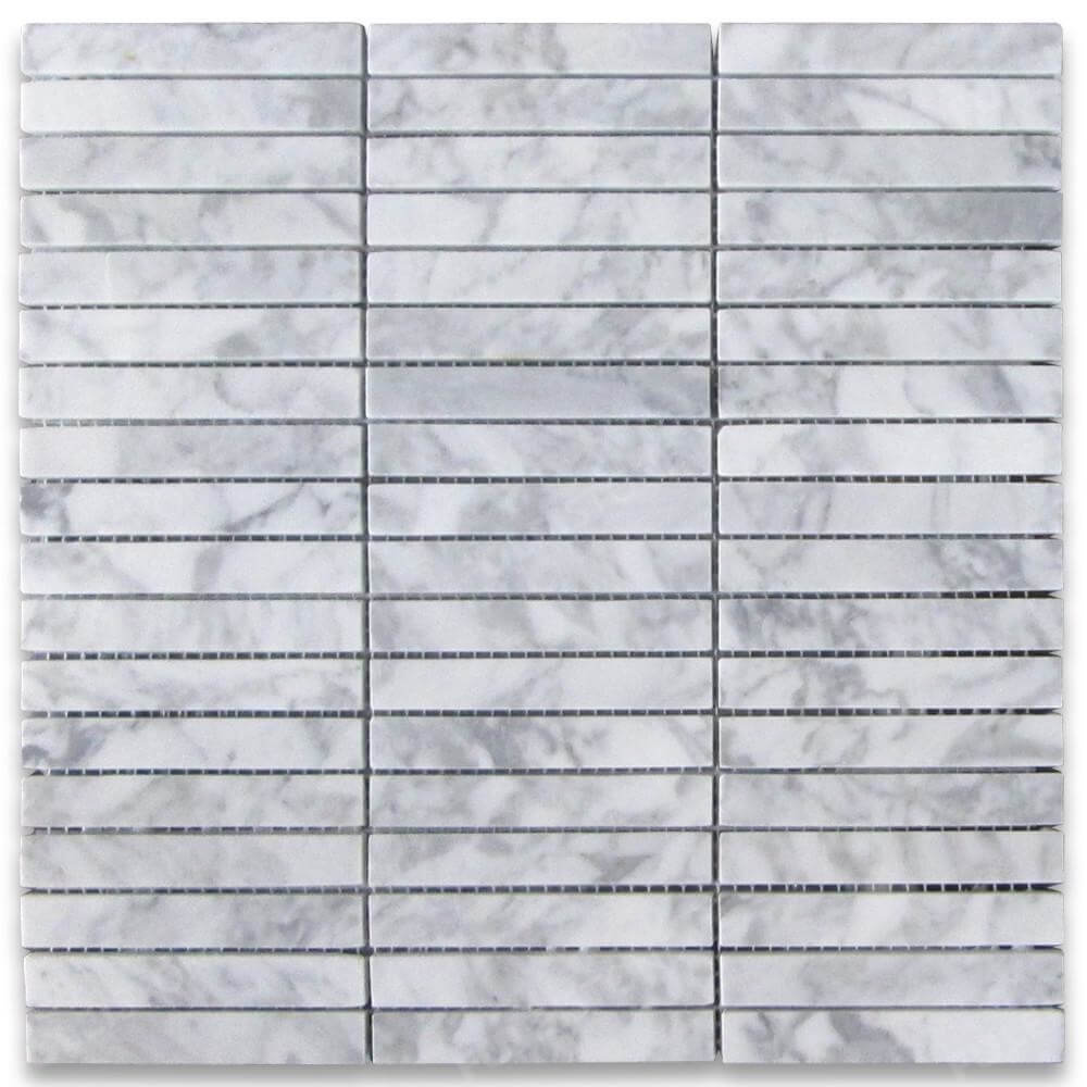 Carrara White Basketweave Mosaic Tiles 2