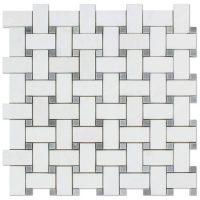 Carrara White Basketweave Mosaic Tiles