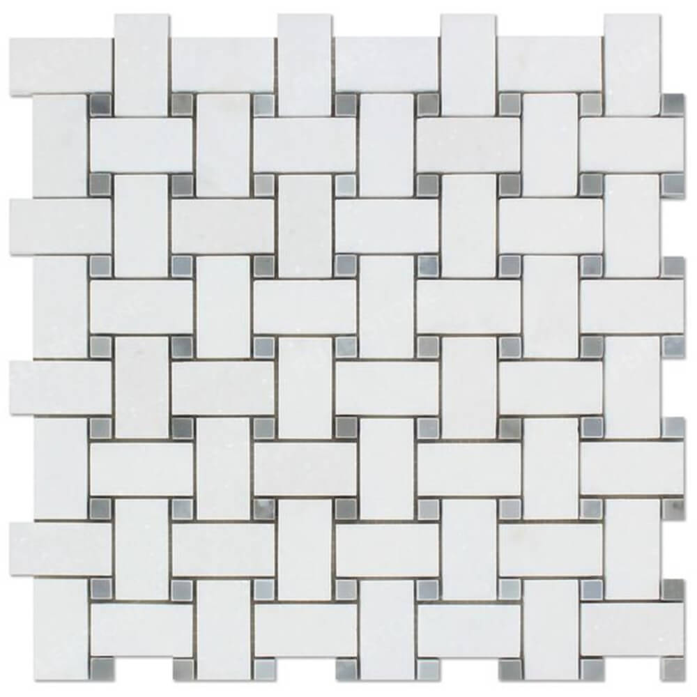 Carrara White Basketweave Mosaic Tiles