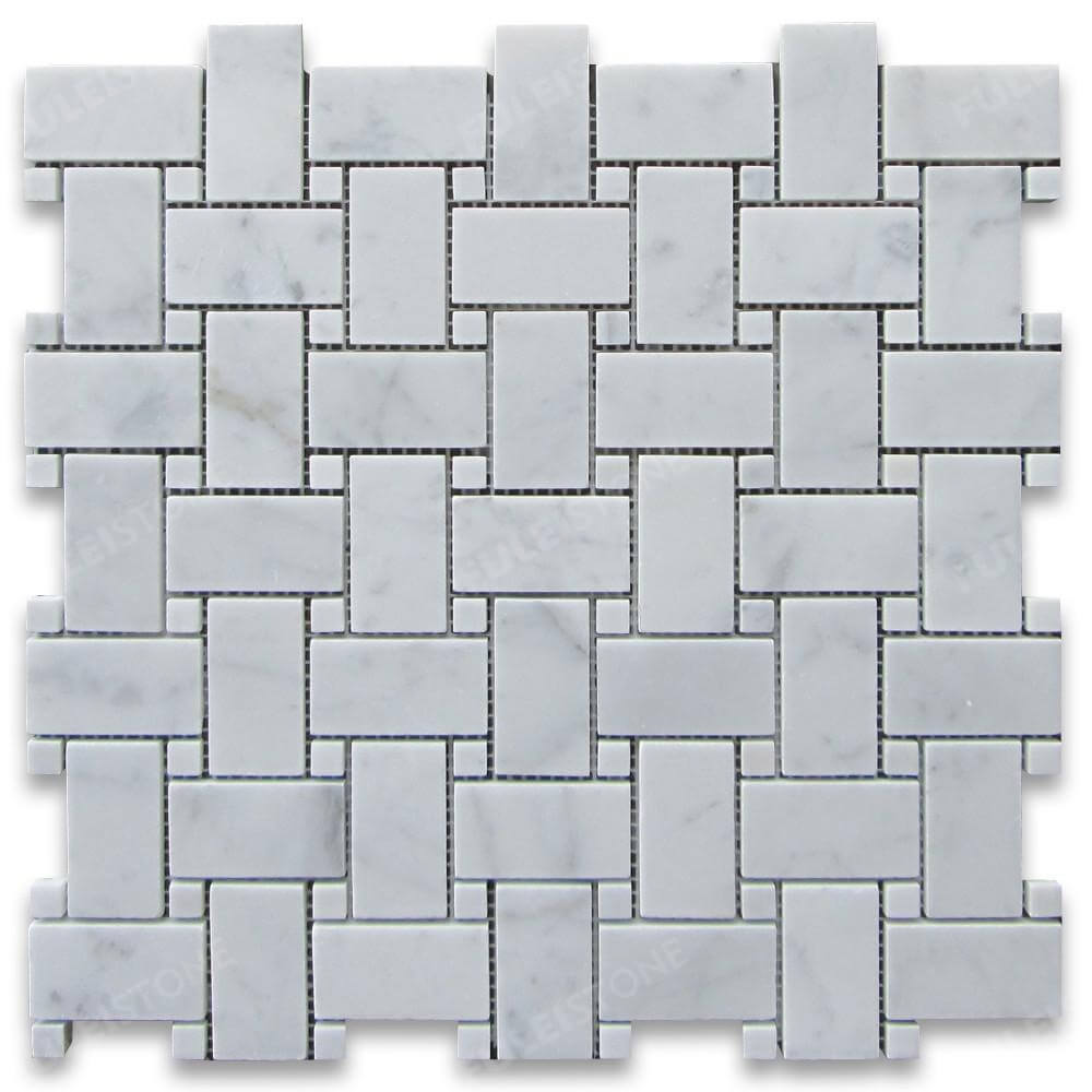 Carrara White Marble 1x2 Rectangle Mosaic Tile