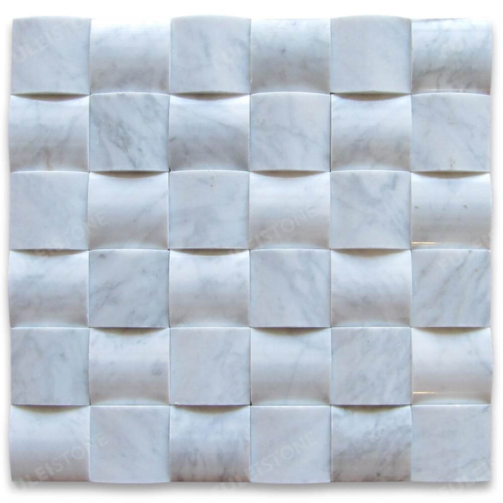 Carrara White Marble 3D Cambered Curved Mosaic Tile