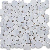 Carrara White Marble Bubble Round Mosaic Tile