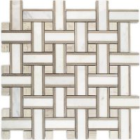China Wooden Marble with Pure White Marble mosaic