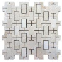 Cream Marfil Marble Mix Interlock Mosaic Tile