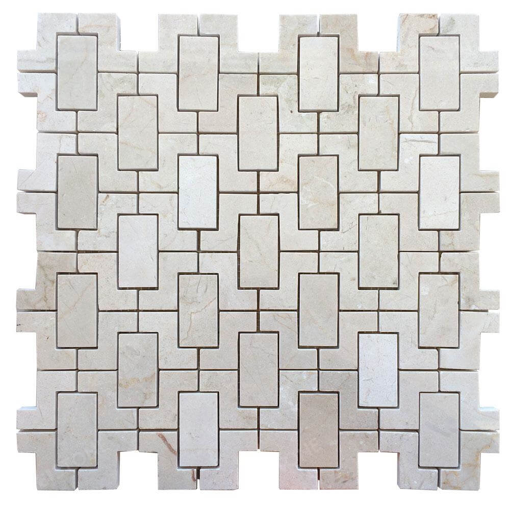 Cream Marfil Marble Mix Interlock Mosaic Tile