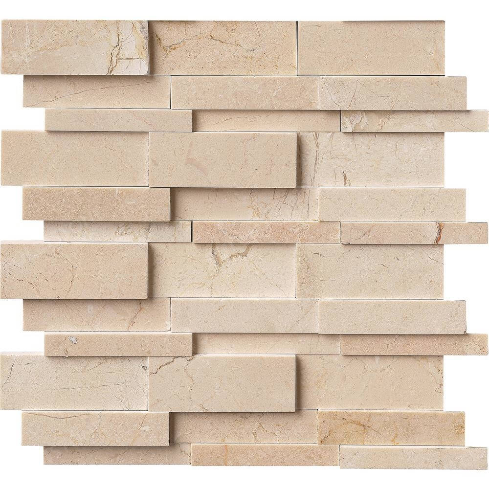 Crema Marfil Marble 3D Interlocking Mosaic Tiles