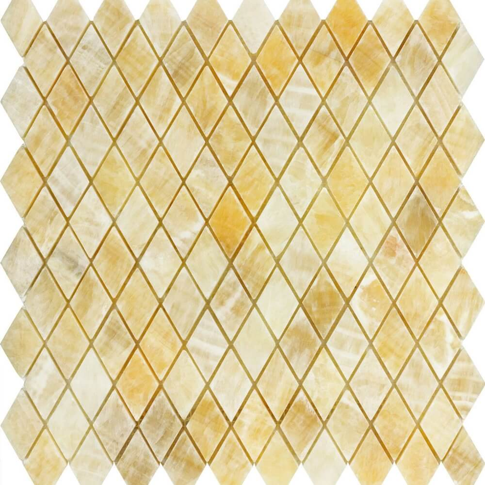 Honey Onyx and Thassos White Flower Mosaic Tiles