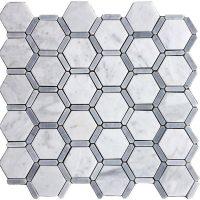 Honeycomb Hexagon Polished Carrara Marble Tile