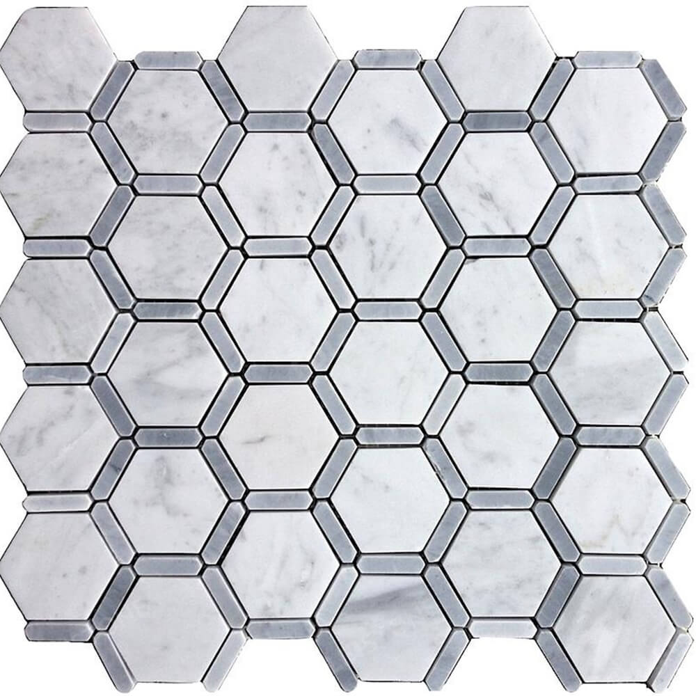 Honeycomb Hexagon Polished Carrara Marble Tile