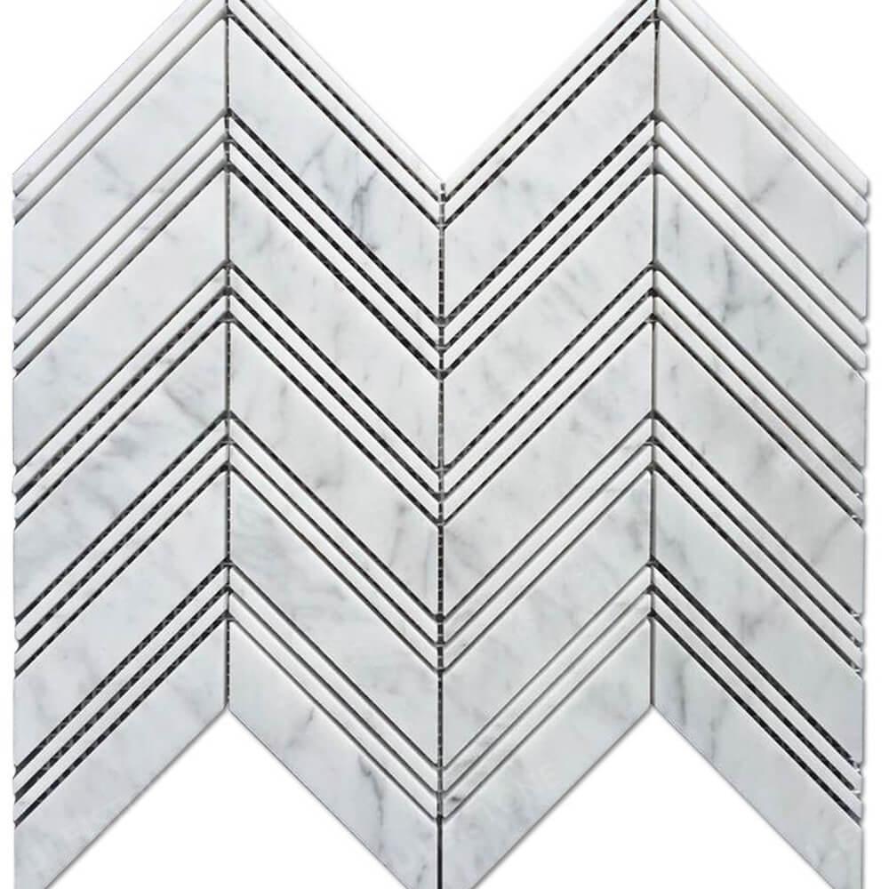 Italian Marble 1x3 Herringbone Mosaic tile