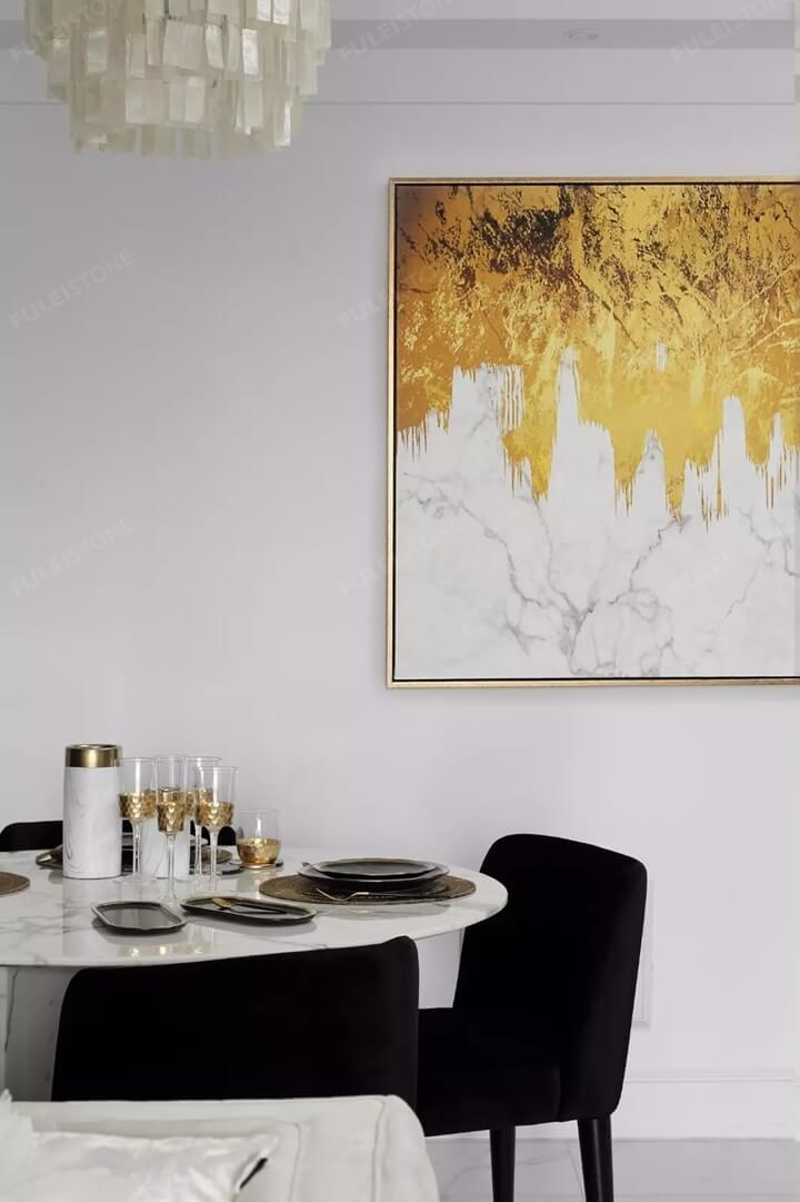 Metal fork and marble table