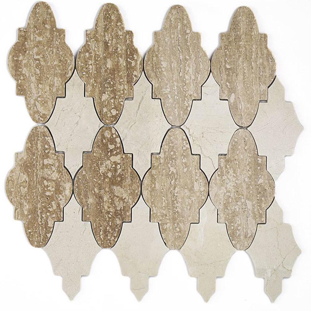 Nature Crema Marfil Marble Waterjet Mosaic Tile