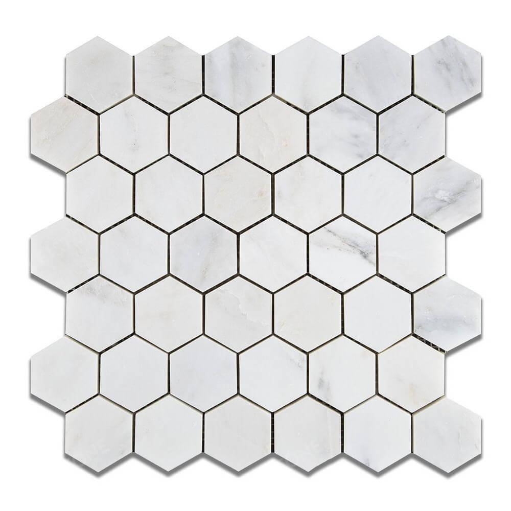 Oriental White 2x2 Hexagon Polished Mosaic tile