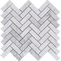 Polished 1x3 Herringbone Carrara Marble Mosaic Tile