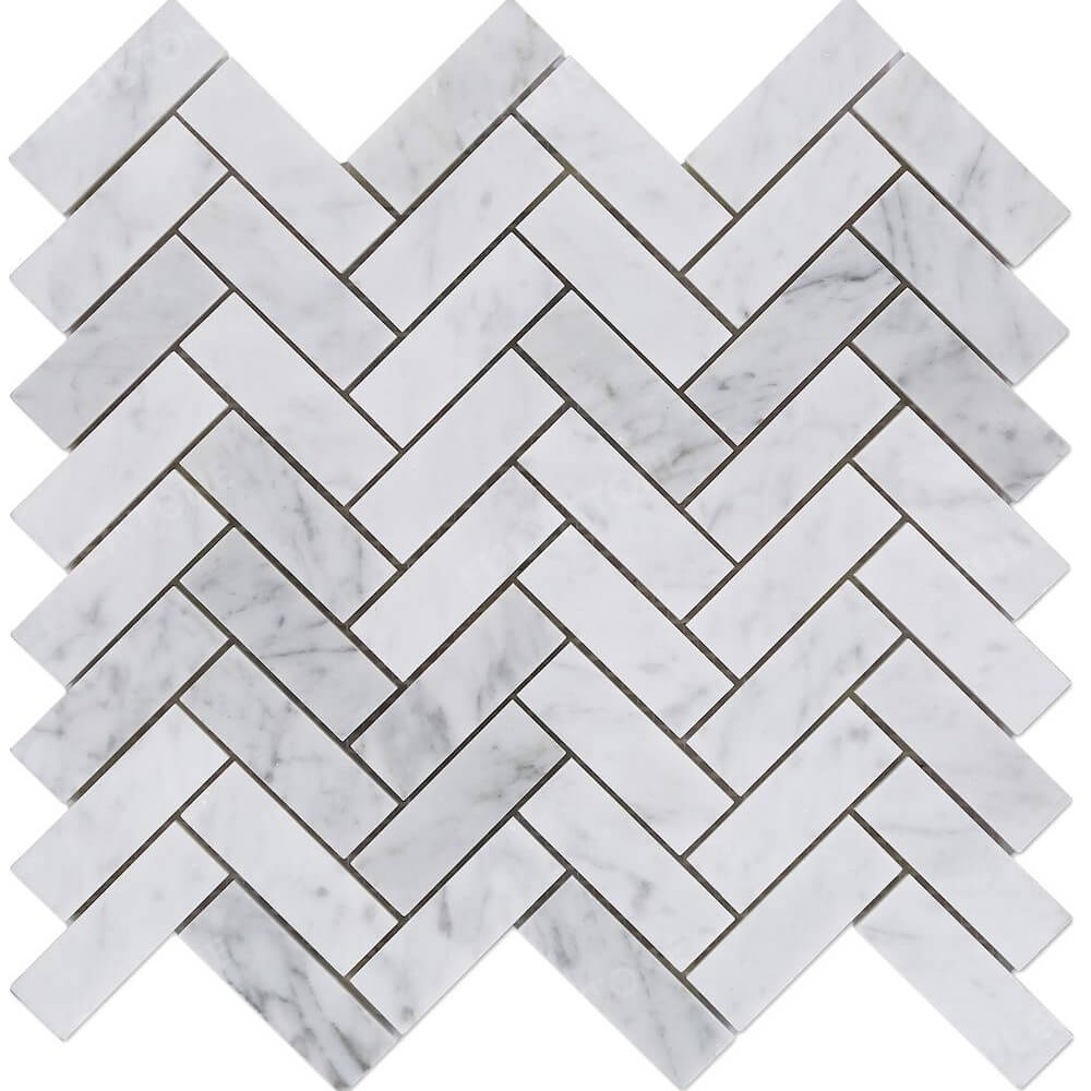 Polished 1x3 Herringbone Carrara Marble Mosaic Tile
