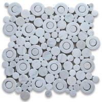 Polished Carrara White Circle Bubble Mosaic Tile