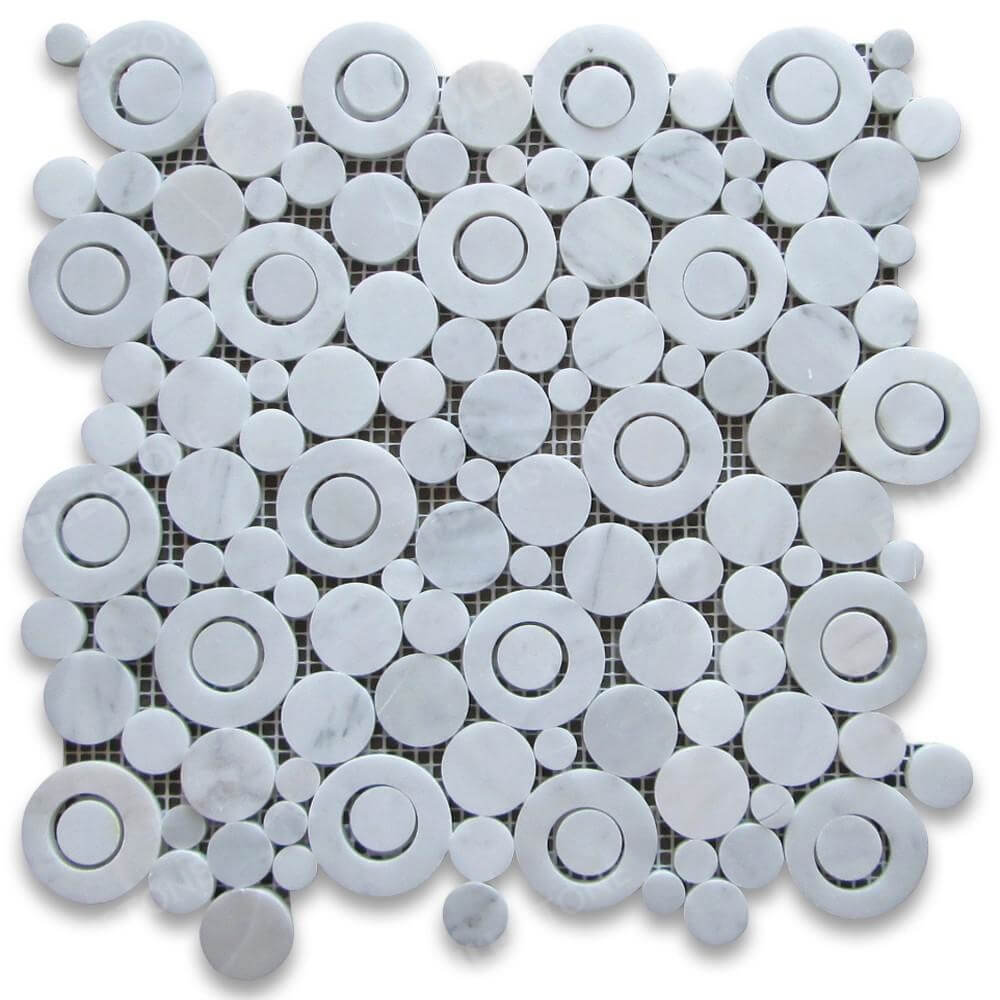 Polished Carrara White Circle Bubble Mosaic Tile