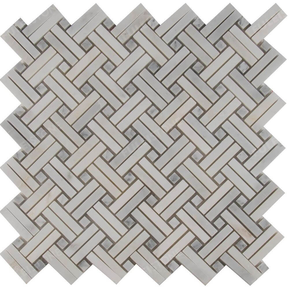 Polished Carrara White Marble Mesh Mosaic tile