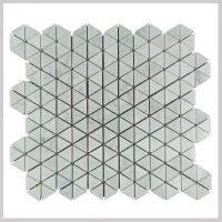 Triangle Bianco Carrara White Marble Mosaic Tiles
