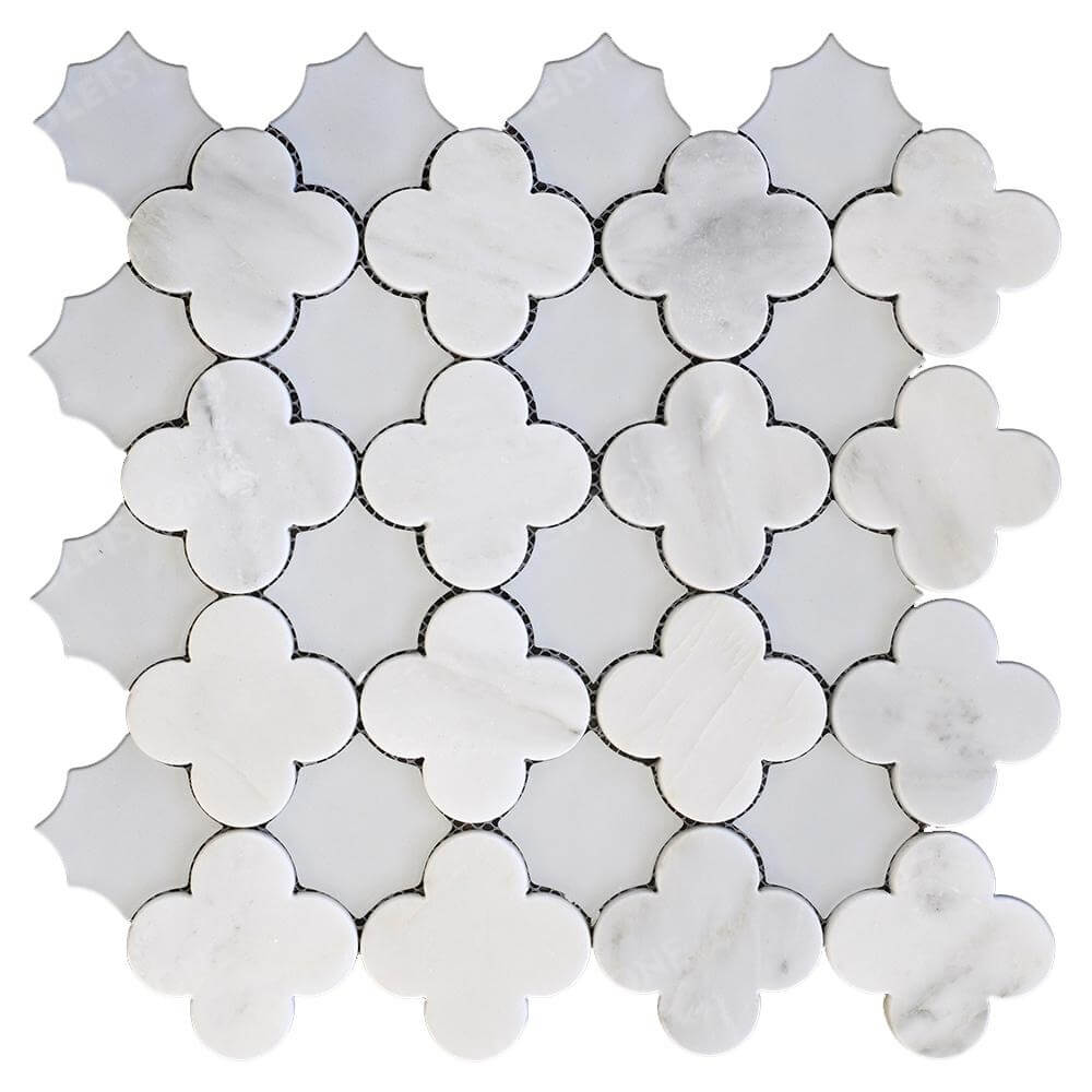 White Marble Waterjet Flower Mosaic Tile
