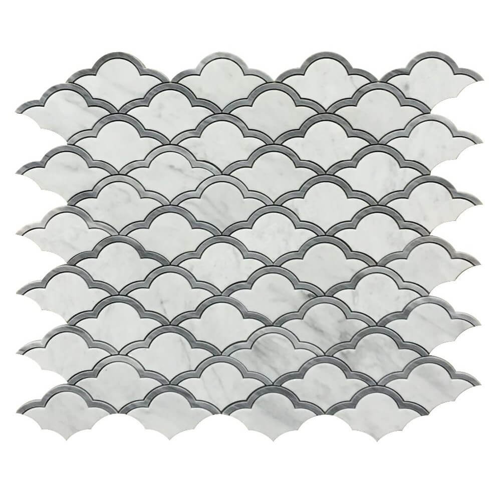 White and Grey Marble Sea Waves Mosaic Tile